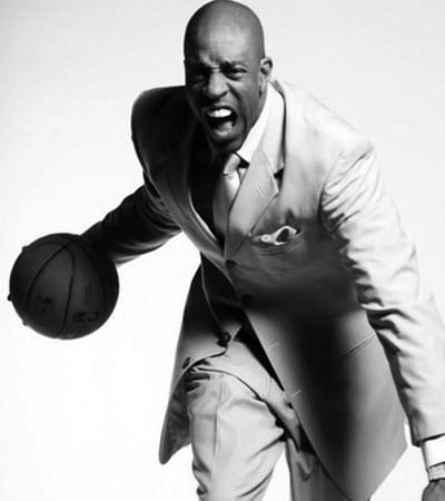 Jerome Williams white suit dribbling basketball screaming